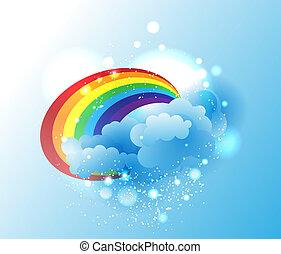 Cartoon clouds and rainbow