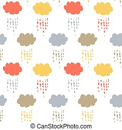 Cartoon clouds and raindrops vector seamless pattern