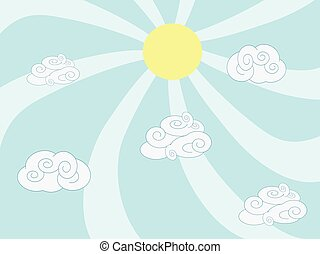 cartoon clouds and sun background