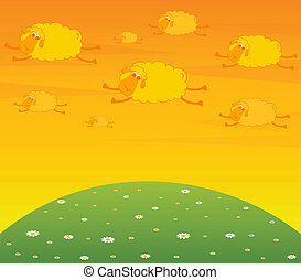 cartoon clouds fly as smiling sheep