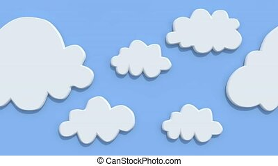 Cartoon clouds on blue background, animation loop