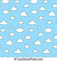 Cartoon clouds on blue sky seamless pattern