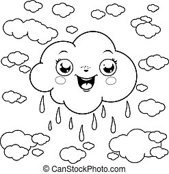 Cartoon clouds raining. Vector black and white coloring page