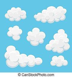 Cartoon clouds set on a blue background