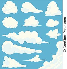 Cartoon Clouds Set On Blue Sky Background. Illustration of a collection of various vector cartoon clouds on a blue sky background, white cloud illustration