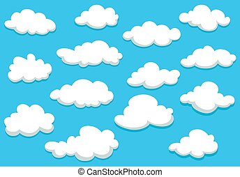 Cartoon clouds set on blue sky background - White fluffy...