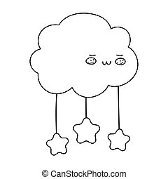 cartoon clouds stars decoration isolated icon line style