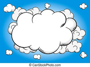cartoon clouds  with copy space in sky