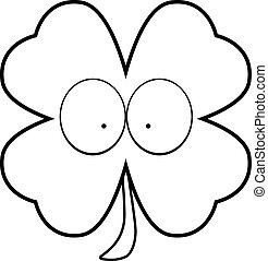 A cartoon illustration of a four leaf clover with eyes.
