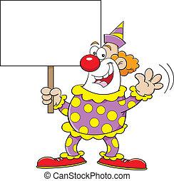 Cartoon clown holding a sign