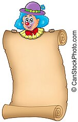 Cartoon clown holding old scroll