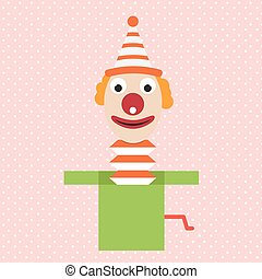 cartoon clown in box jester vector april flat illustration