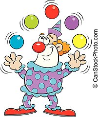 Cartoon clown juggling balls.