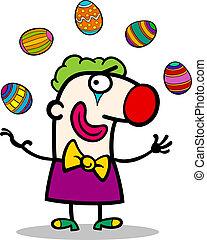 cartoon clown juggling easter eggs