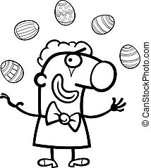 cartoon clown juggling easter eggs for coloring