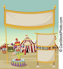 Cartoon clown juggling in front of cartoon circus.