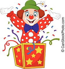 Cartoon clown jumping out of the box - Vector illustration...