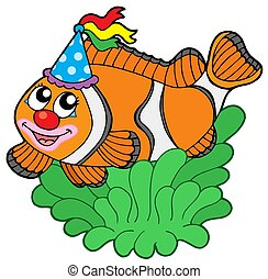 Cartoon clownfish in anemone - isolated illustration.