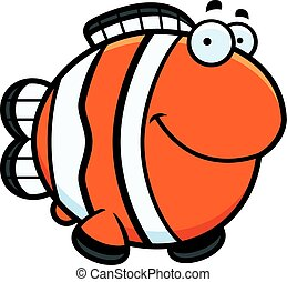 A cartoon illustration of a clownfish happy and smiling.