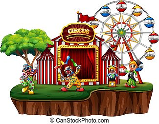 Cartoon clowns in an island with a carnival