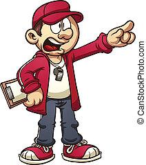 Cartoon coach yelling orders. Vector clip art illustration...