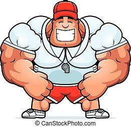 Cartoon Coach Smiling - A cartoon illustration of a muscular...