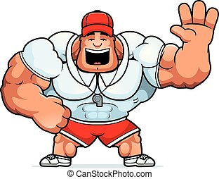 Cartoon Coach Waving