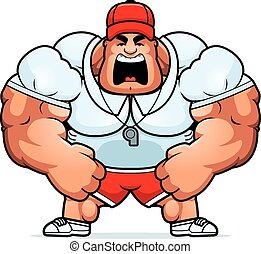 Cartoon Coach Yelling - A cartoon illustration of a muscular...