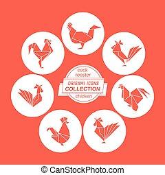 Cartoon cock icon set