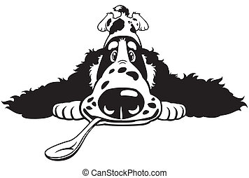 dog english cocker spaniel breed, cartoon puppy with spoon, black and white image
