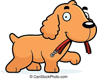 Cartoon Cocker Spaniel Leash - A cartoon illustration of a...
