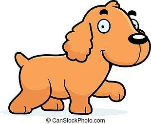 Cartoon Cocker Spaniel Walking - A cartoon illustration of a...