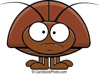 Cartoon Cockroach Frowning - Cartoon illustration of a...