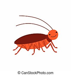Cartoon cockroach. Vector illustration isolated on white background.