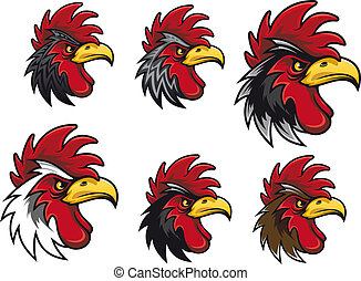 Cartoon cocks - Cartoon cock heads set for mascot or another...