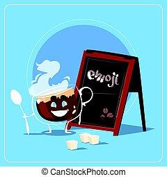 Cartoon Coffee Cup Happy Smiling Face People Emoji