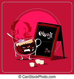 Cartoon Coffee Cup Sad Angry Face People Emoji