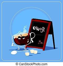 Cartoon Coffee Cup Sad Tired Face People Emoji