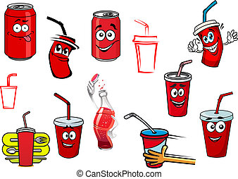 Cartoon cola and soda drinks