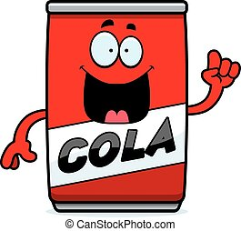 A cartoon illustration of a can of cola with an idea.