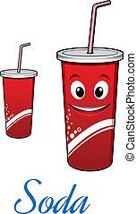 Cartoon cola or soda character