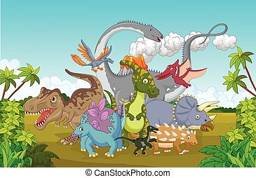Cartoon Collection dinosaur happy - Vector illustration of...