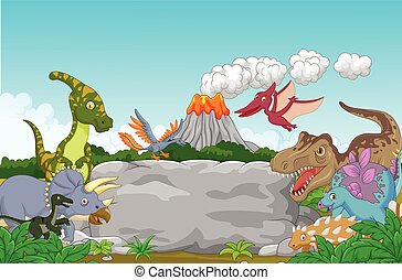 Cartoon Collection dinosaur in the - Vector illustration of...