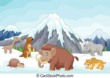 Cartoon Collection ice age animals - Vector illustration of...