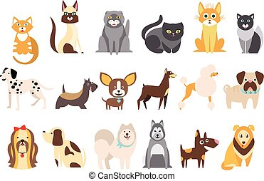 Cartoon collection of funny cats and dogs of different breeds. Domestic animals. Home pets. Human's best friends. Flat vector design for pet shop or vet clinic