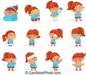 Cartoon Collection Of Sick Child Figurines