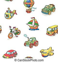 Cartoon collection of Transportation seamless pattern