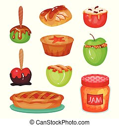 Cartoon collection of various apple desserts. Transparent glass jar with delicious jam. Home made sweets. Colorful food icons. Flat vector illustration