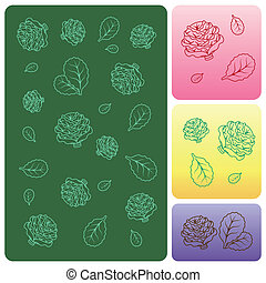 Cartoon Collection. Veget Texture with Cabbage