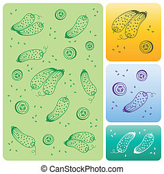 Cartoon Collection. Veget Texture with Cucumber